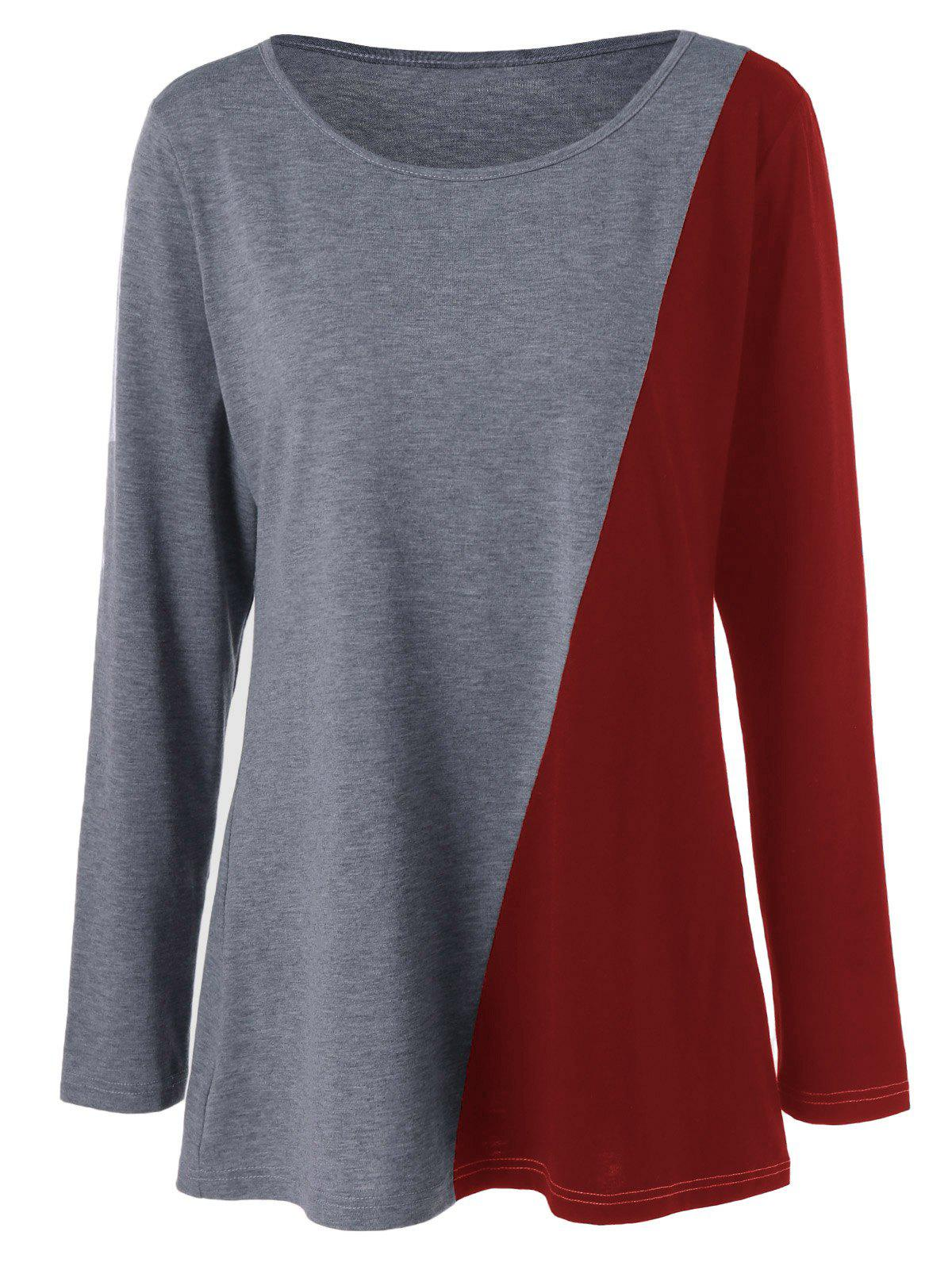Plus Size Longline Two Tone Tee - RED XL