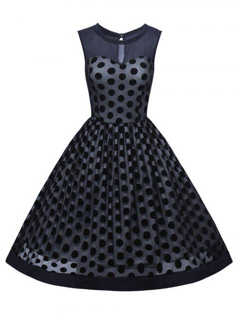 Summer Retro Polka Dot Mesh Yarn Insert Dress - PURPLISH BLUE S