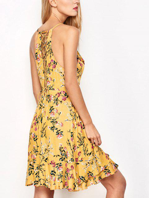 Ruffled Cami Floral Skater Dress - YELLOW M