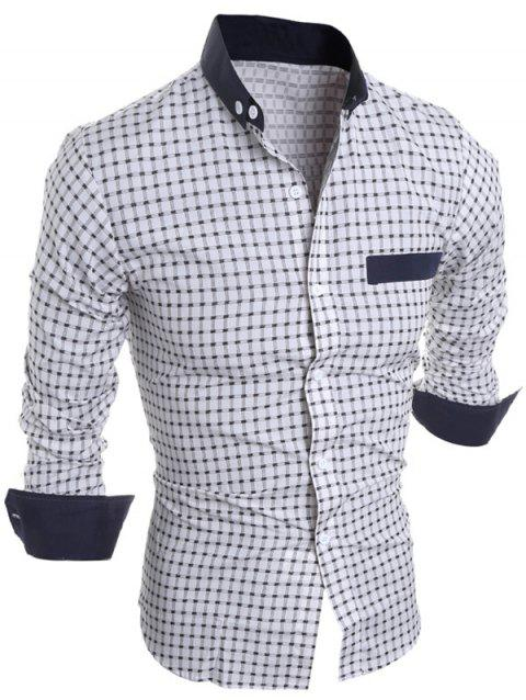 Long Sleeve Button Down Checked Shirt - WHITE 2XL