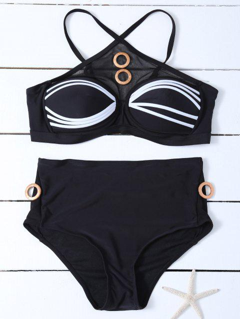 Striped Padded Bikini Set - BLACK S