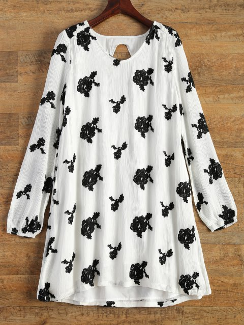 Long Sleeve Floral Embroidered Tunic Dress - WHITE S