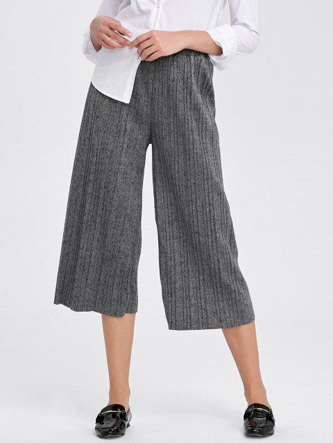2019 High Rise Pleated Cropped Wide Leg Palazzo Pants In Gray One