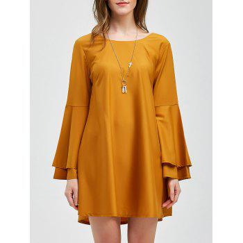 Lace-Up Layered Sleeve Smock Dress