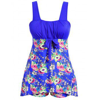 Floral Print Pleated Plus Size Swimwear