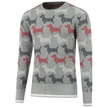 Button Design Dog Pattern Sweater