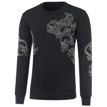 Long Sleeve Flowers Embroidery Sweatshirt