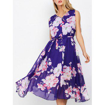 V Neck Floral Print Belted Midi Dress