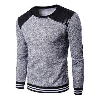 Elbow Patch Crew Neck PU Panel Sweatshirt