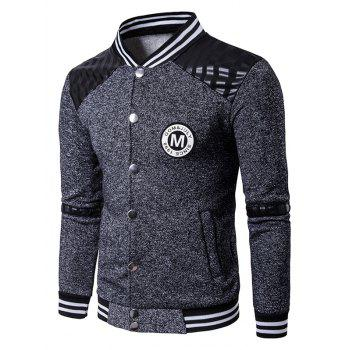 Patch Design PU Insert Button Up Jacket
