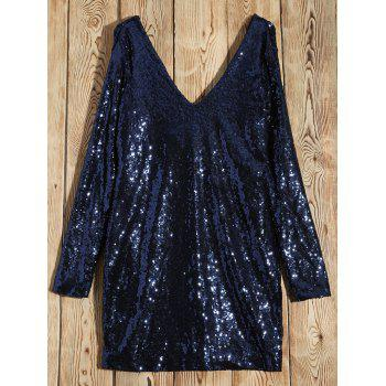 Long Sleeved Sequins Mini Dress