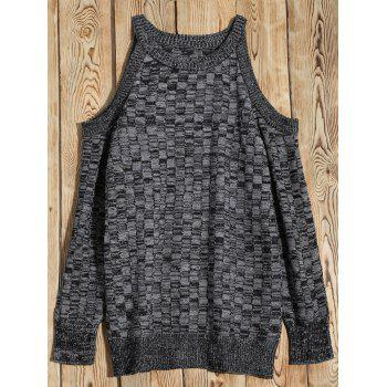Cold Shoulder Basket Weave Jumper