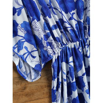 Vintage Porcelain Print Loose Midi Dress - BLUE/WHITE ONE SIZE(FIT SIZE XS TO M)