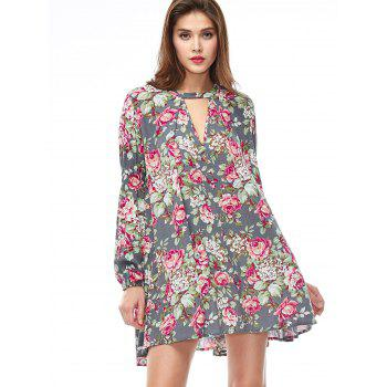 Keyhole Floral Swing Boho Tunic Dress