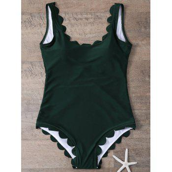 U Neck Backless Scalloped One-Piece Bathing Suit