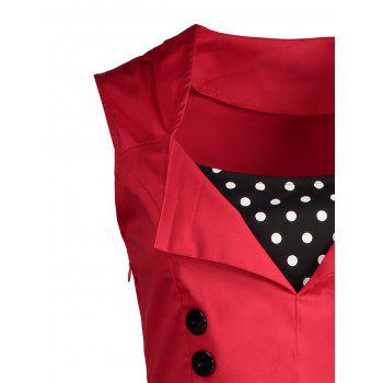 Midi Polka Dot Prom Rockabilly Swing Vintage Prom Dresses - RED 4XL