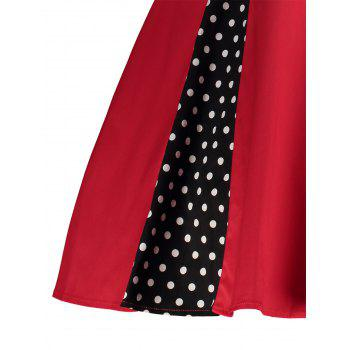 Midi Polka Dot Prom Rockabilly Swing Vintage Prom Dresses - RED L