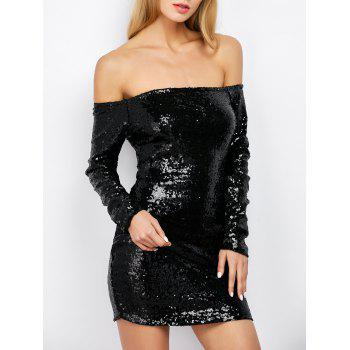 Off Shoulder Sequin Long Sleeve Glitter Sparkly Tight Dress