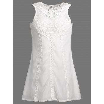 Stylish Jewel Neck Sleeveless Spliced Openwork White Women's Chiffon Dress - WHITE S