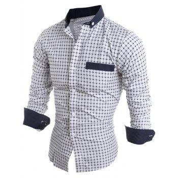 Long Sleeve Button Down Checked Shirt - WHITE M