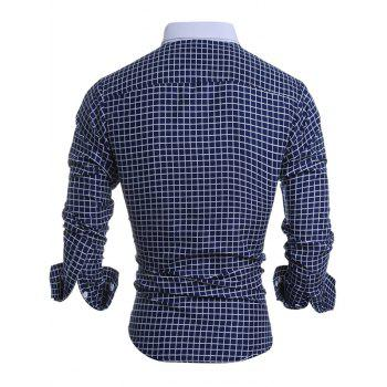 Long Sleeve Button Down Checked Shirt - CADETBLUE XL
