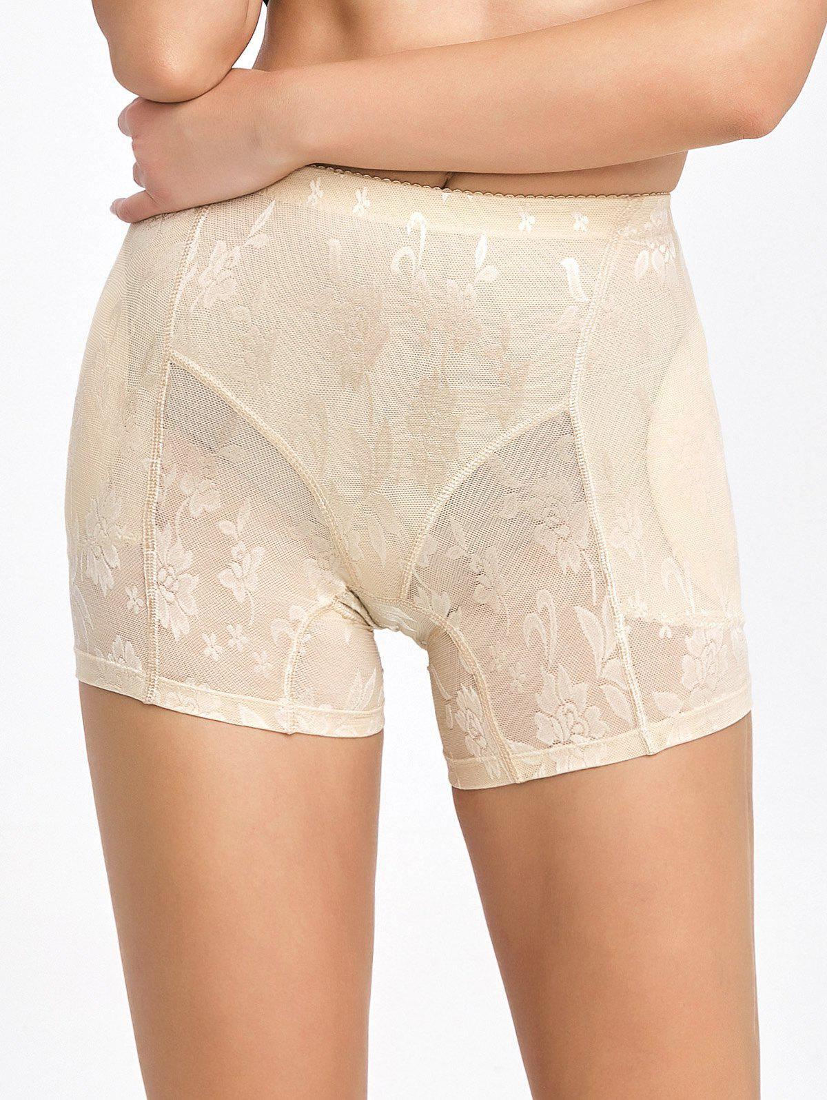 Floral See-Through Padded Boyshorts - COMPLEXION 2XL