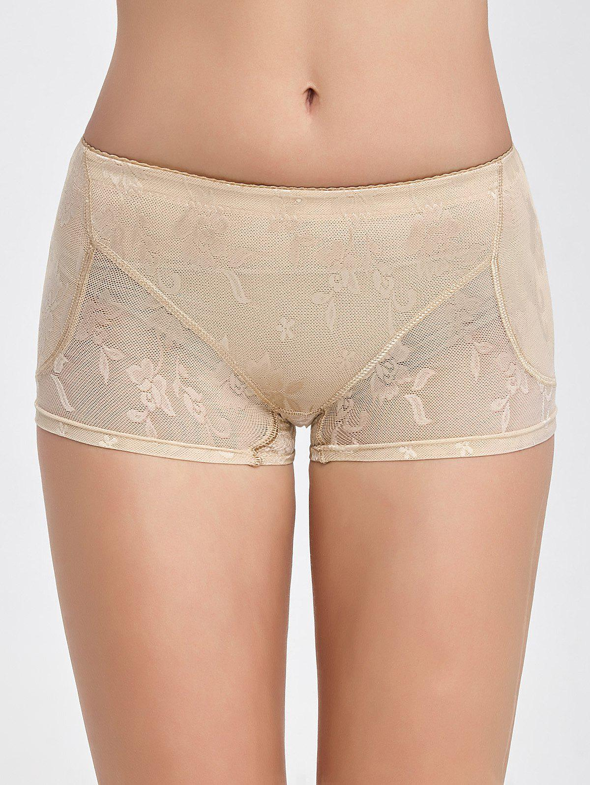 Flower See-Through Padded BoyshortsWomen<br><br><br>Size: M<br>Color: COMPLEXION