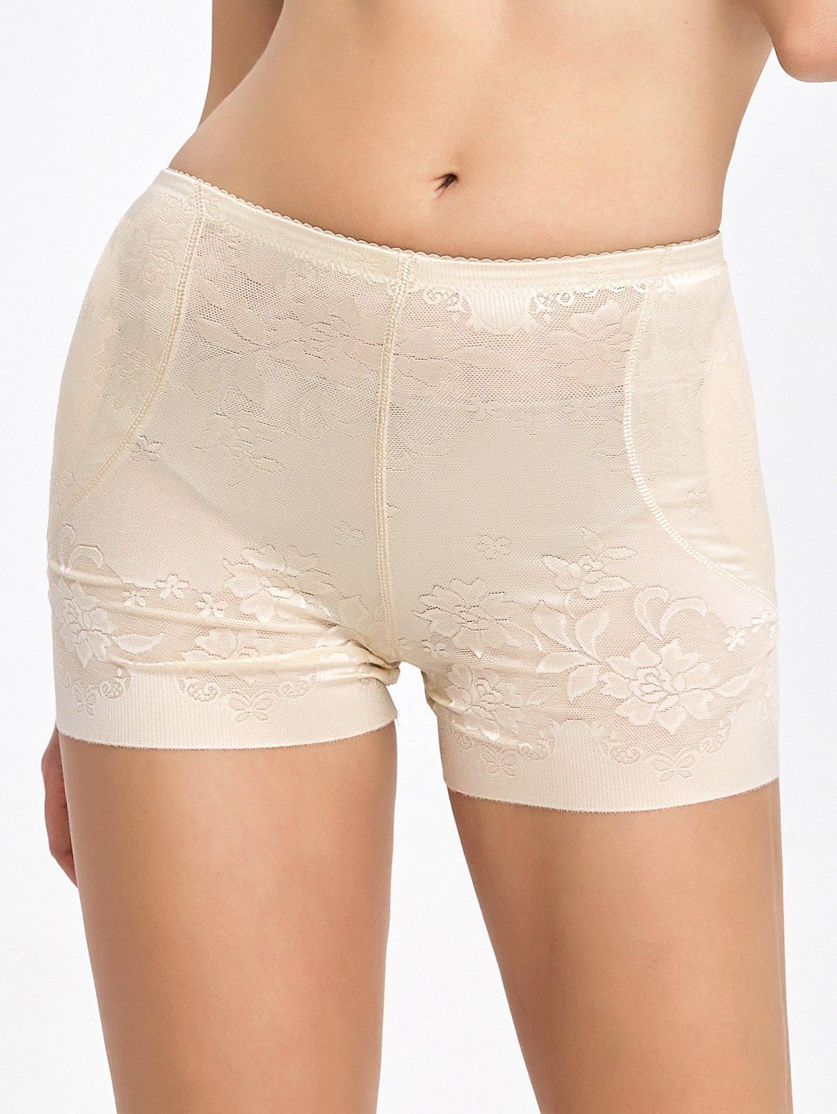 Floral Padded Panties Boyshorts - COMPLEXION 2XL