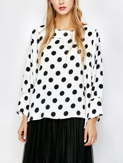 dd1a87beac4 17% OFF  2019 Polka Dot Boat Neck Blouse In WHITE BLACK