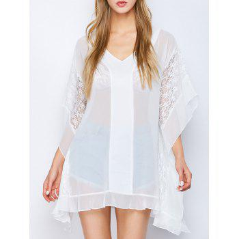 Dolman Sleeve Semi Sheer Tunic Blouse