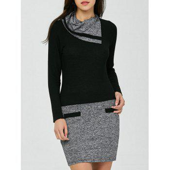 Color Block Long Sleeve Sheath Work Fitted Dress