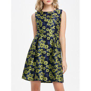 Sleeveless Jacquard Mini Fit and Flare Dress