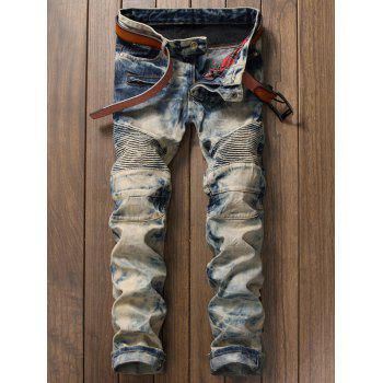 Zipper Fly Straight Tie Dye Biker Jeans