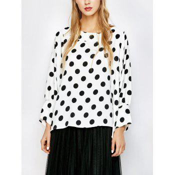 Polka Dot Boat Neck Blouse