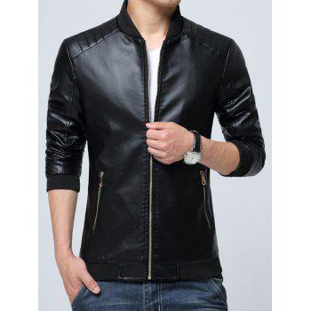 Zippered Pocket Faux Leather Jacket