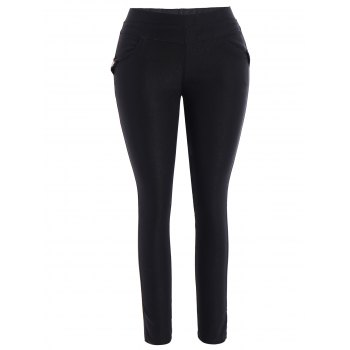Plus Size Skinny Pencil Pants - BLACK 4XL