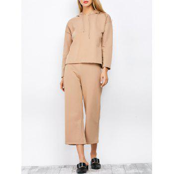 Hooded Top and Scrub Wide Leg Pants Twinset - APRICOT S