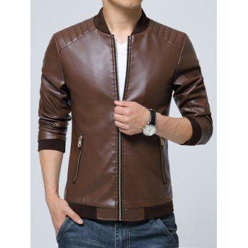 Zippered Pocket Faux Leather Jacket - COFFEE M