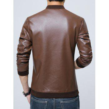 Zippered Pocket Faux Leather Jacket - M M