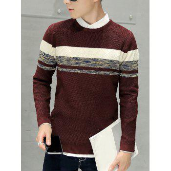 Texture Knitted Pullover Sweater - WINE RED M