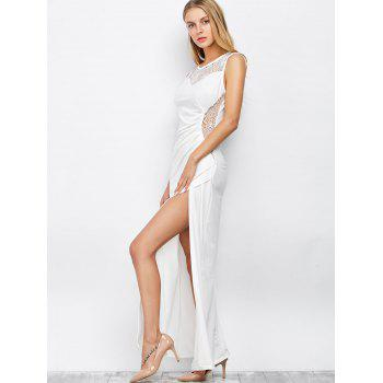 Slit Lace Insert Maxi Formal Party Dress - WHITE WHITE