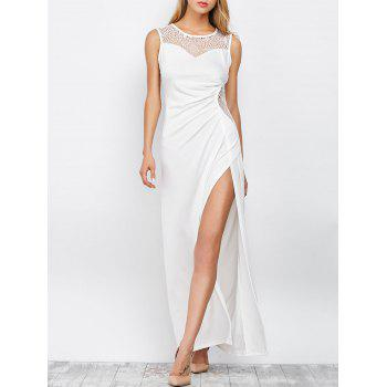 Slit Lace Insert Maxi Formal Party Dress - WHITE S