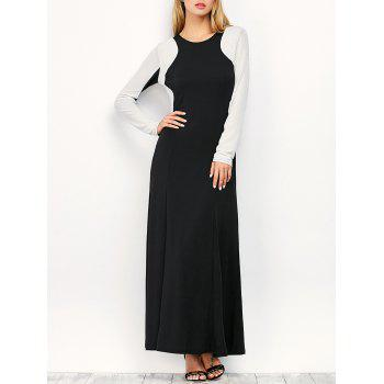 Long Sleeve Longline Two Tone Dress - WHITE AND BLACK M