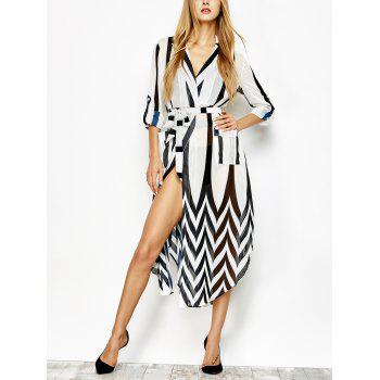 Lapel Collar Vertical Stripe Dress