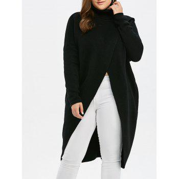 Plus Size Turtleneck High Slit Midi Long Sweater