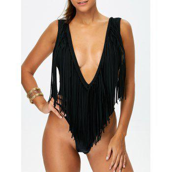High Leg Plunge Fringe Bathing Suits