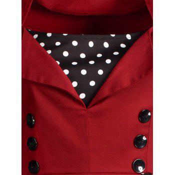 Midi Polka Dot Prom Rockabilly Swing Vintage Prom Dresses - WINE RED WINE RED