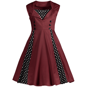 Midi Polka Dot Prom Rockabilly Swing Vintage Prom Dresses - DARK RED 3XL