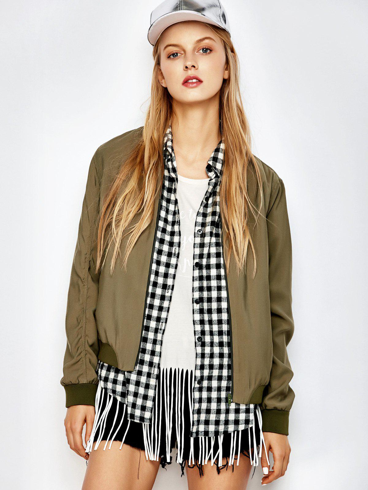 Zippers Military Bomber JacketWomen<br><br><br>Size: M<br>Color: ARMY GREEN