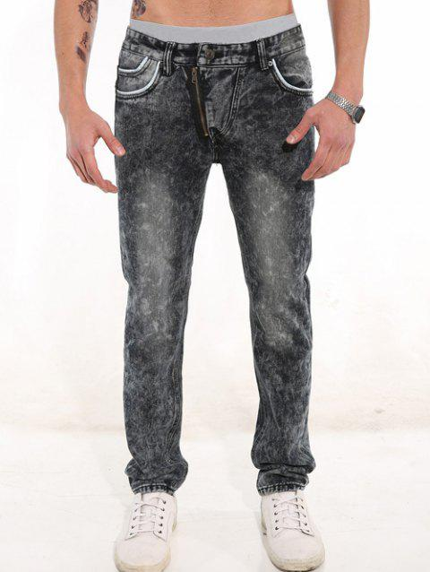 Casual Trimmed Pocket Zippered Jeans - GRAY 30